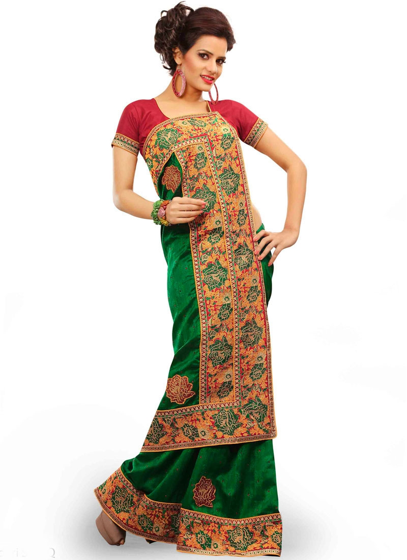 Tempting Patch Border Work Green Color Party Wear Saree