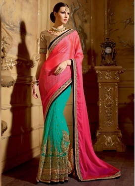 Tempting Pure Chiffon And Net Half N Half Wedding Saree