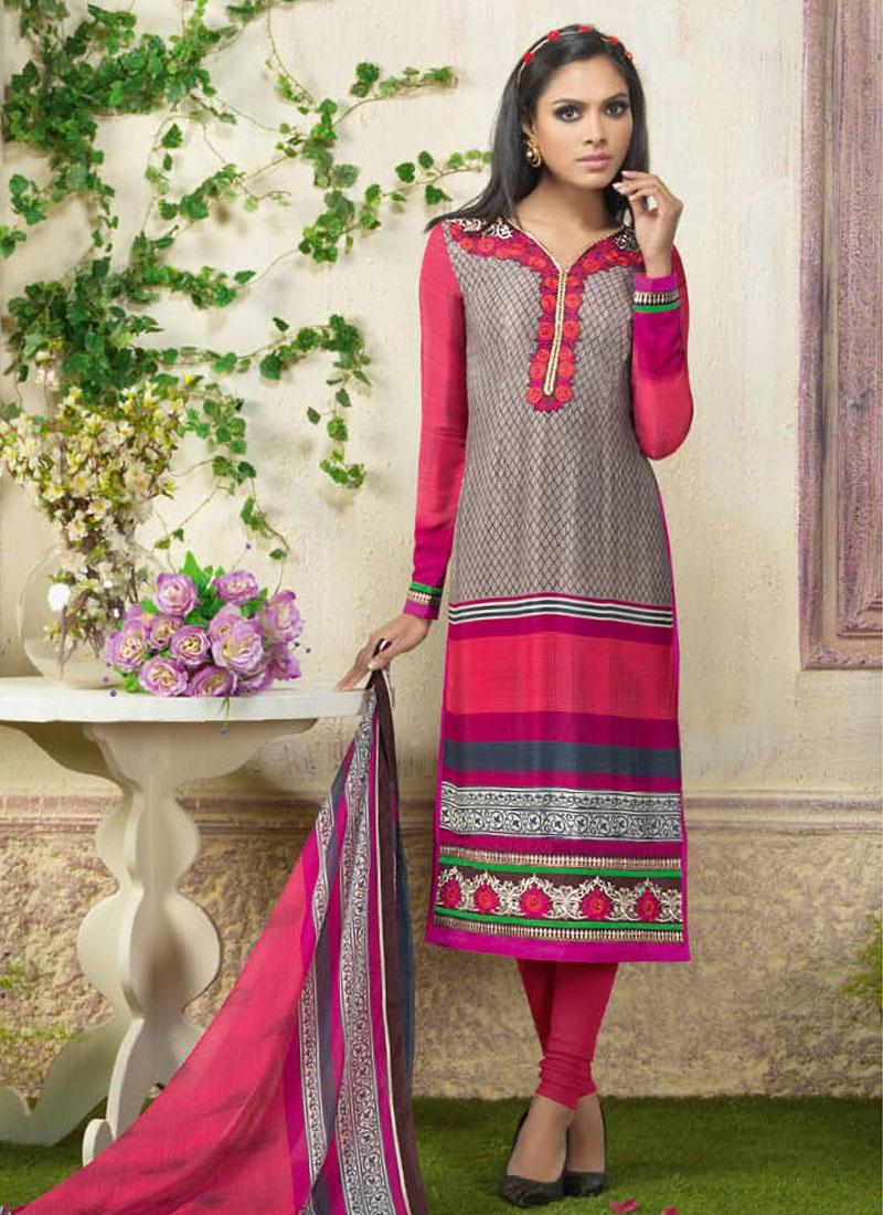 Tempting Resham Work Churidar Suit