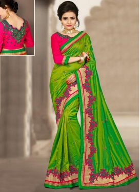 Tempting Silk Embroidered Work Contemporary Saree