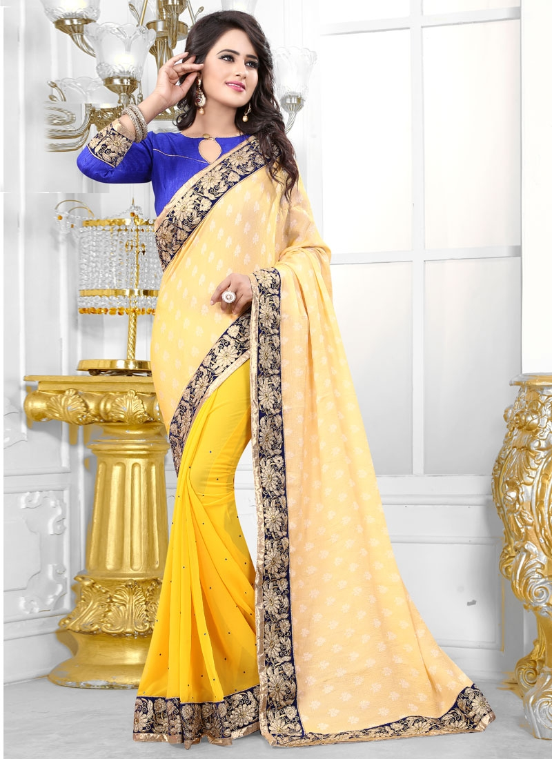 Tempting Stone Work Jacquard Half N Half Party Wear Saree