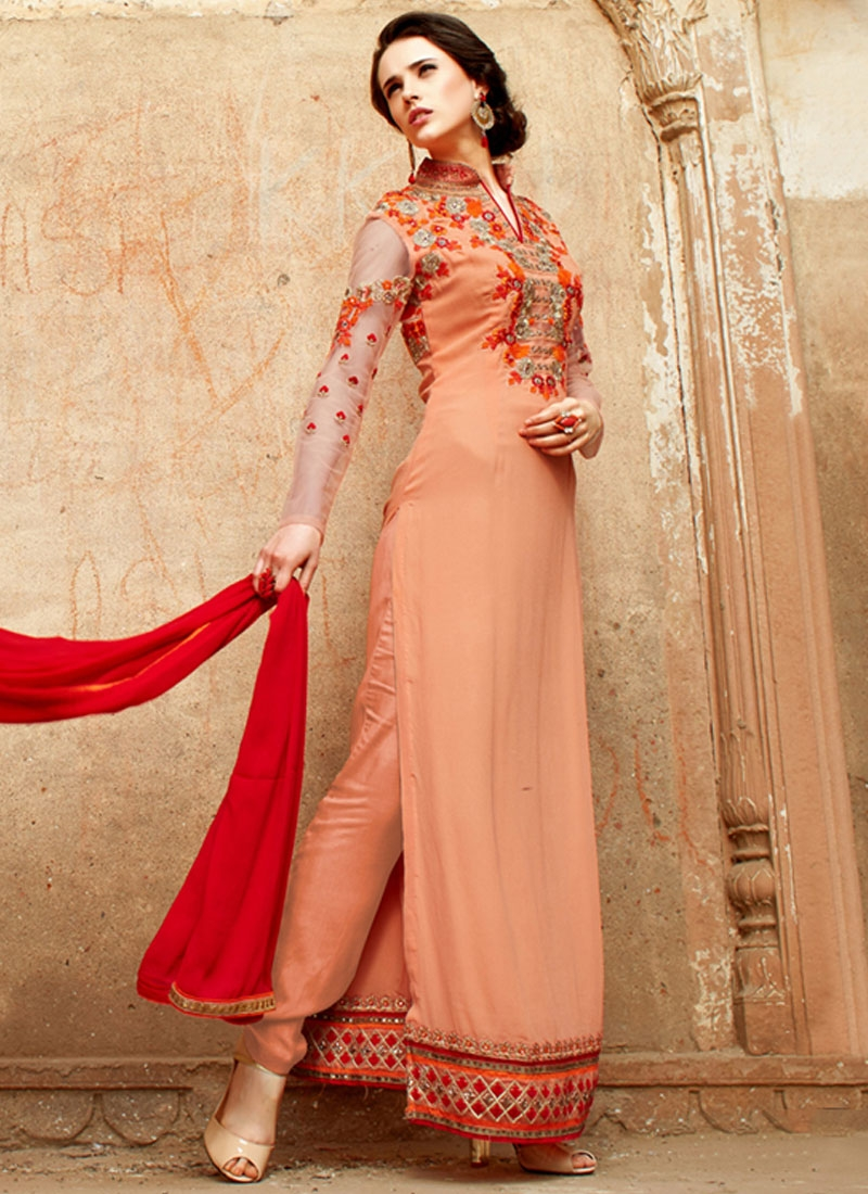 Tempting Stone Work Long Length Pakistani Salwar Kameez