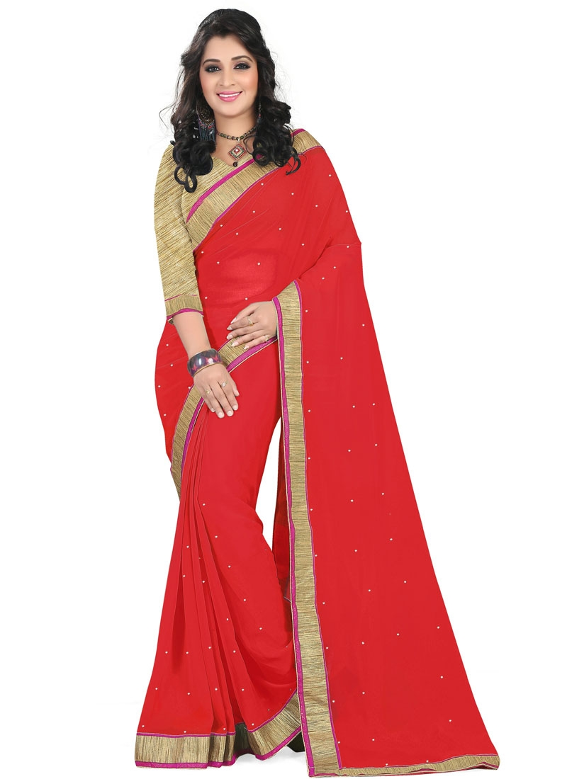 Tempting Stone Work Red Color Casual Saree