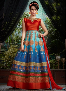 Tempting Zardosi And Lace Work Designer Readymade Gown