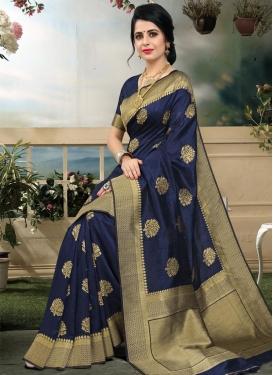 Thread Work Art Silk Classic Saree