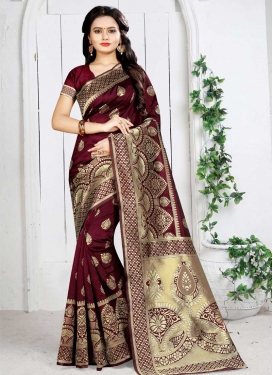 Thread Work Art Silk Classic Saree