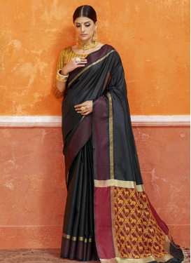 Thread Work Art Silk Contemporary Style Saree