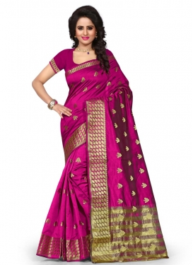 Thread Work Art Silk Contemporary Style Saree For Ceremonial