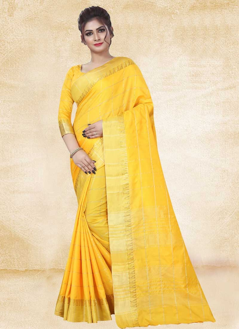 Thread Work Art Silk Designer Contemporary Saree For Casual