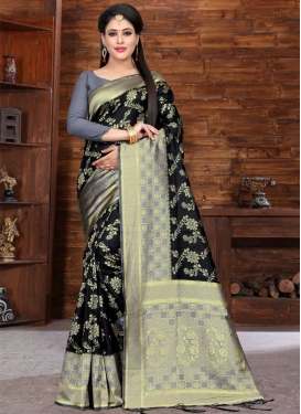 Thread Work Art Silk Designer Contemporary Style Saree