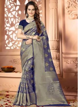 Thread Work Art Silk Designer Contemporary Style Saree