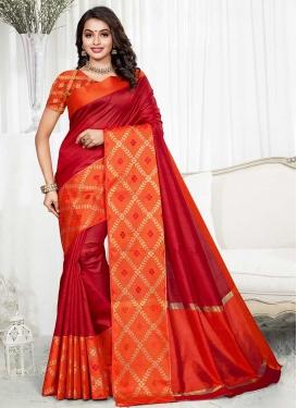 Thread Work Art Silk Orange and Red Designer Traditional Saree