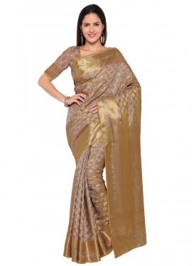Thread Work Art Silk Traditional Saree For Festival