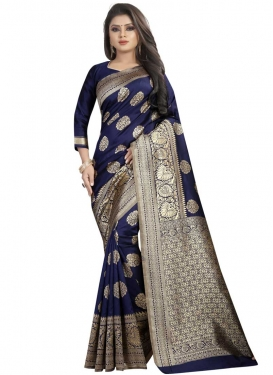 Thread Work Art Silk Trendy Saree