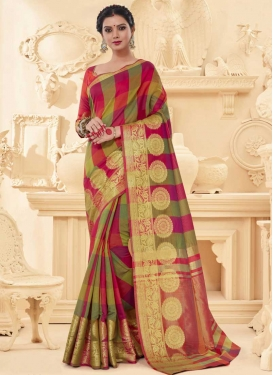 Thread Work Art Silk Trendy Saree For Festival