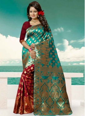 Thread Work Banarasi Silk Aqua Blue and Red Half N Half Saree