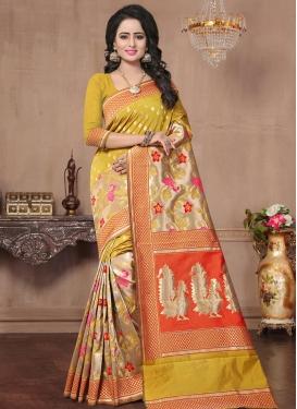 Thread Work Banarasi Silk Beige and Mustard Contemporary Saree