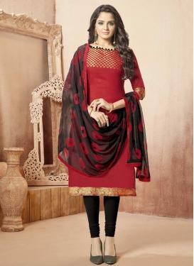 Thread Work Banarasi Silk Black and Red Churidar Salwar Kameez