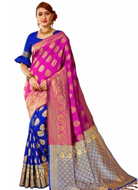 Thread Work Banarasi Silk Blue and Rose Pink Half N Half Saree