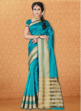 Thread Work Banarasi Silk Contemporary Saree For Casual