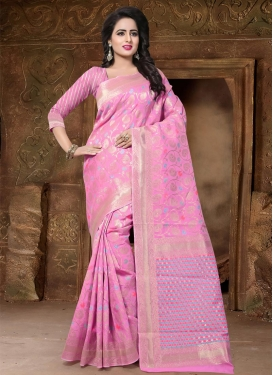 Thread Work Banarasi Silk Contemporary Style Saree