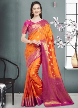 Thread Work Banarasi Silk Contemporary Style Saree