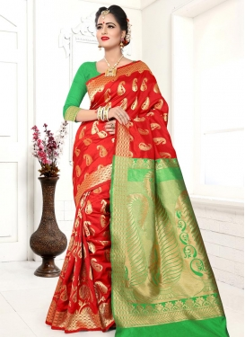 Thread Work Banarasi Silk Contemporary Style Saree For Festival