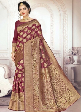 Thread Work Banarasi Silk Designer Contemporary Saree For Casual