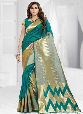 Thread Work Banarasi Silk Designer Contemporary Style Saree