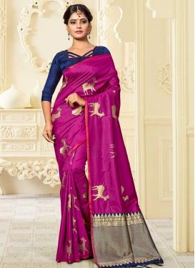 Thread Work Banarasi Silk Fuchsia and Navy Blue Trendy Classic Saree