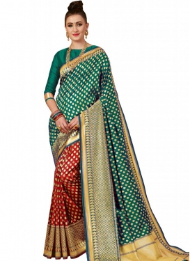 Thread Work Banarasi Silk Half N Half Saree