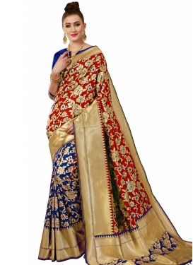 Thread Work Banarasi Silk Half N Half Saree For Ceremonial