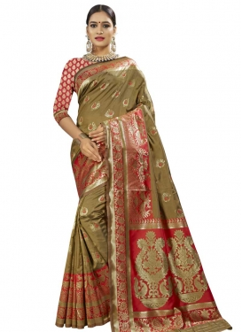 Thread Work Banarasi Silk Traditional Designer Saree