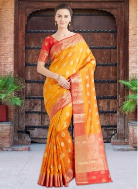 Thread Work Banarasi Silk Traditional Saree