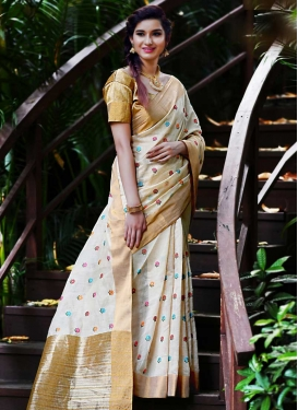 Thread Work Banarasi Silk Traditional Saree For Festival