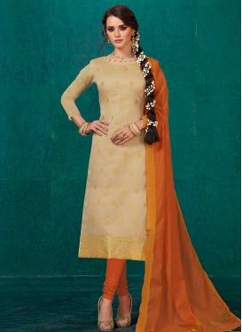 Thread Work Banarasi Silk Trendy Churidar Salwar Suit
