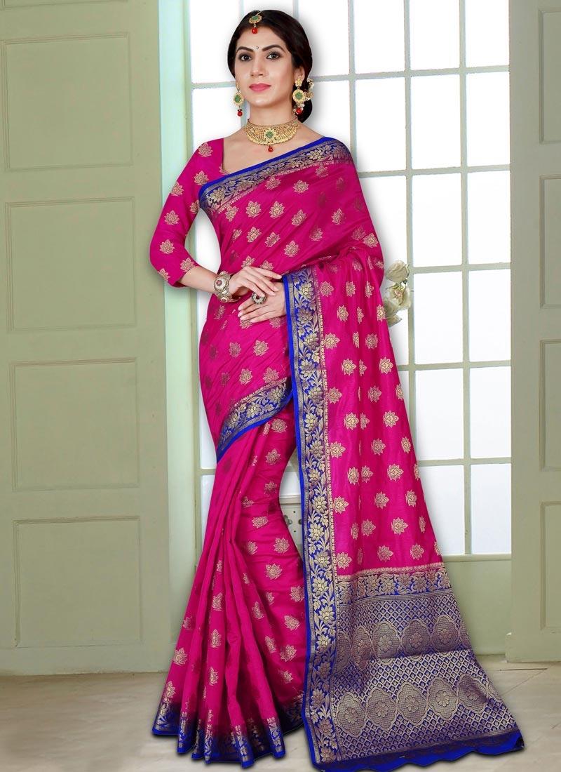 Thread Work Banarasi Silk Trendy Classic Saree