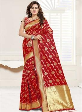 Thread Work Banarasi Silk Trendy Classic Saree For Ceremonial