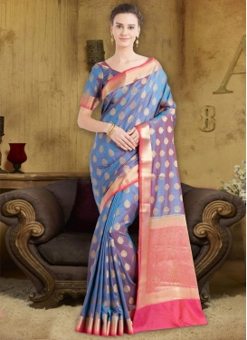 Thread Work  Banarasi Silk Trendy Saree