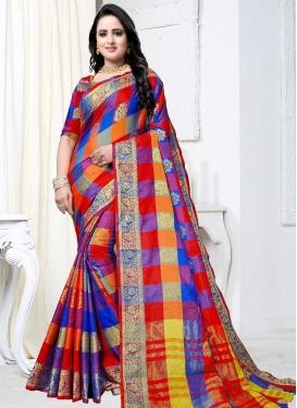 Thread Work Banarasi Silk Trendy Saree