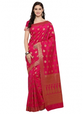 Thread Work Banarasi Silk Trendy Saree For Festival