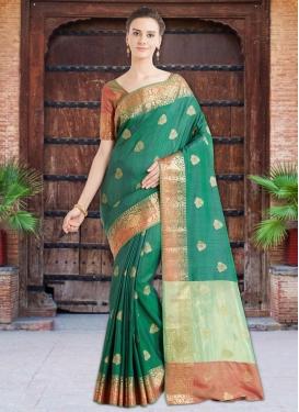 Thread Work Banarasi Silk Trendy Saree For Festival