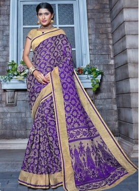 Thread Work Beige and Blue  Trendy Classic Saree