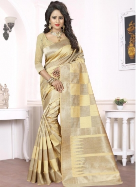 Thread Work Beige and Cream Contemporary Style Saree