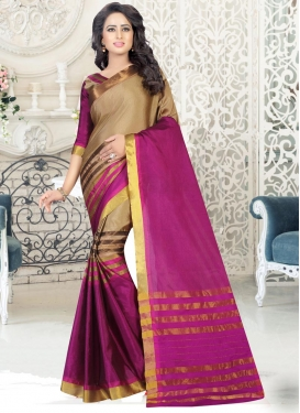 Thread Work Beige and Fuchsia Contemporary Saree