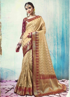 Thread Work Beige and Maroon Trendy Classic Saree