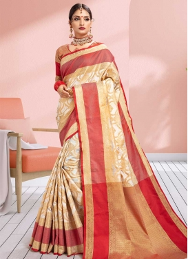 Thread Work Beige and Red Contemporary Style Saree