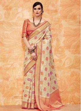 Thread Work Beige and Rose Pink Trendy Saree