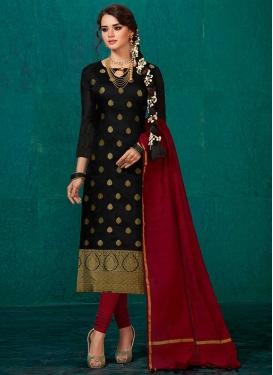 Thread Work Black and Maroon Banarasi Silk Churidar Salwar Kameez