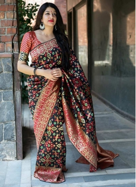 Thread Work Black and Red Contemporary Style Saree